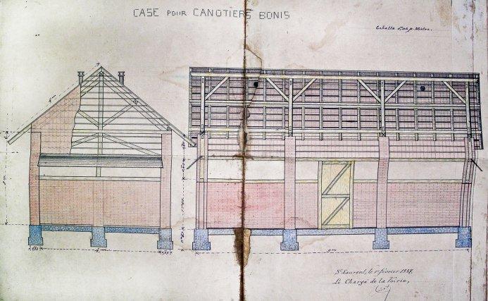 Projet de construction d'une case pour «canotiers Bonis». 1937