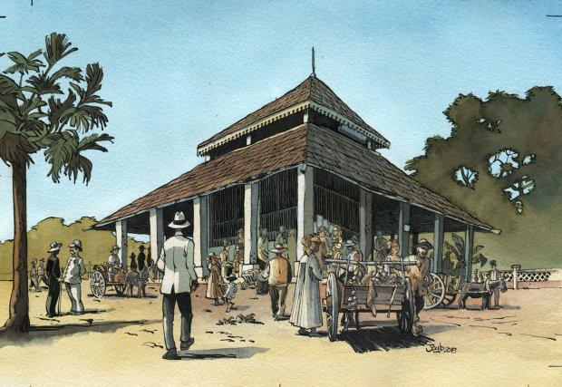 Reconstitution du marché de Saint-Laurent au début du XXe siècle. Dessin de Joub