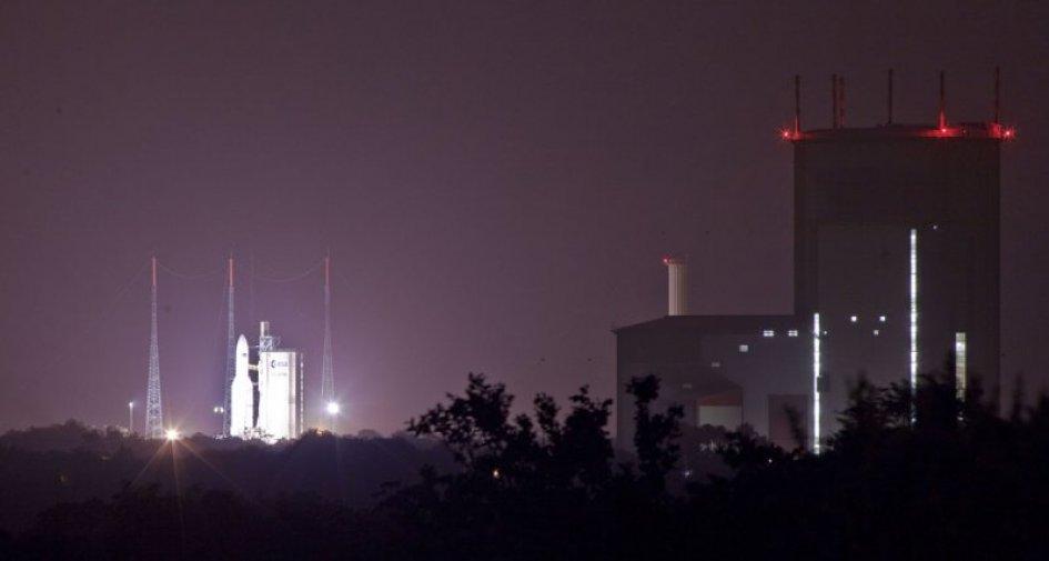 Pas de tir Ariane V VA205depuis le site Toucan à 1:04, le 23 mars 2012