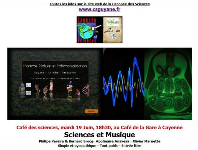 """Café des sciences : """"Sciences et Musique"""" à Cayenne"""