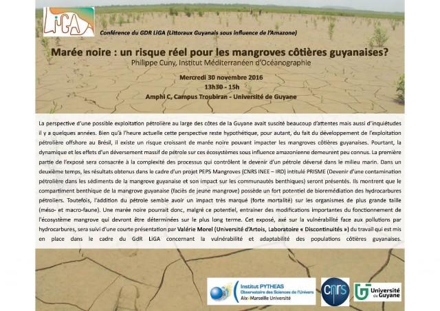 Conférence :Marée noire, un risque réel pour les mangroves côtières guyanaises?
