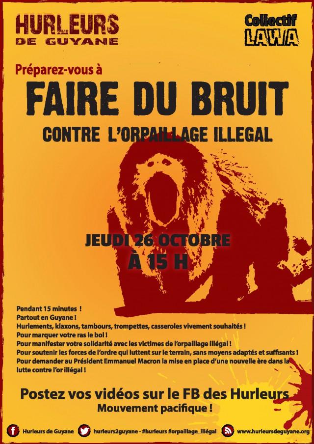 Ce jeudi 26 octobre à 15h:préparez-vous à faire du bruit contre l'orpaillage illégal !