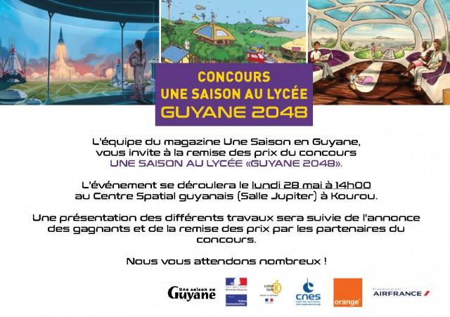 remise des prix du concours Une Saison au Lycée - Guyane 2048 : 28 mai à 14h au Centre Spatial guyanais