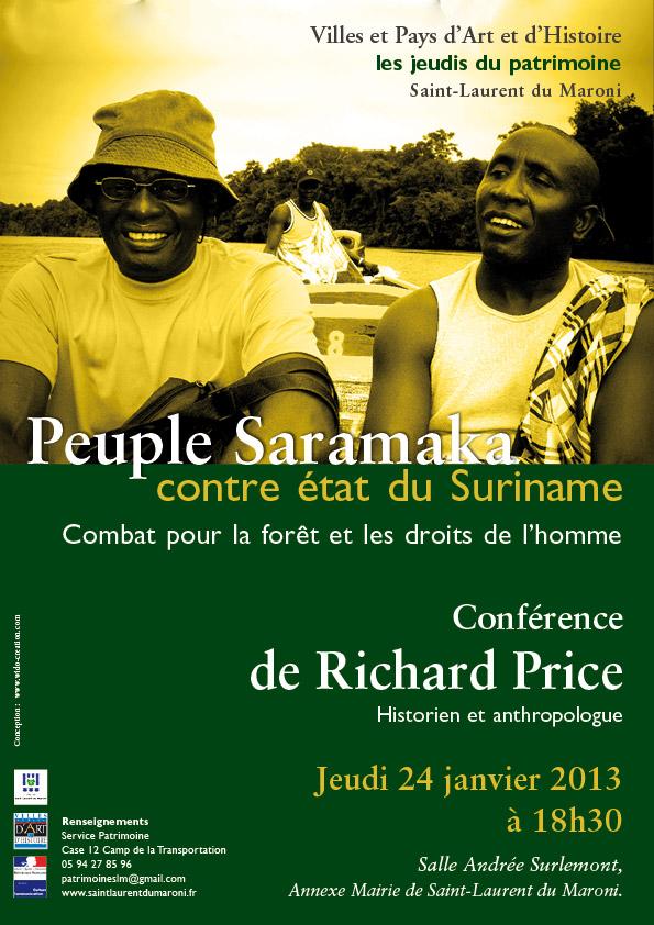 Conférence de Richard Price : PEUPLE SARAMAKA CONTRE ETAT DU SURINAME, COMBAT POUR LA FORET ET LES DROITS DE L'HOMME