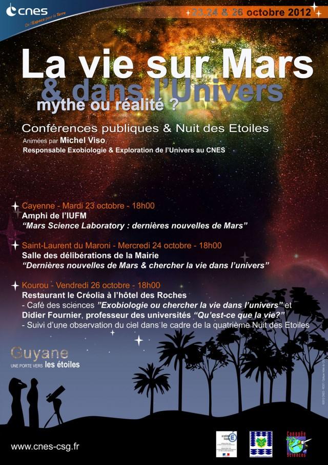 """Conférences : """"La Vie sur Mars & dans l'Univers – Mythe ou réalité ?"""" les 23, 24 et 26 octobre"""