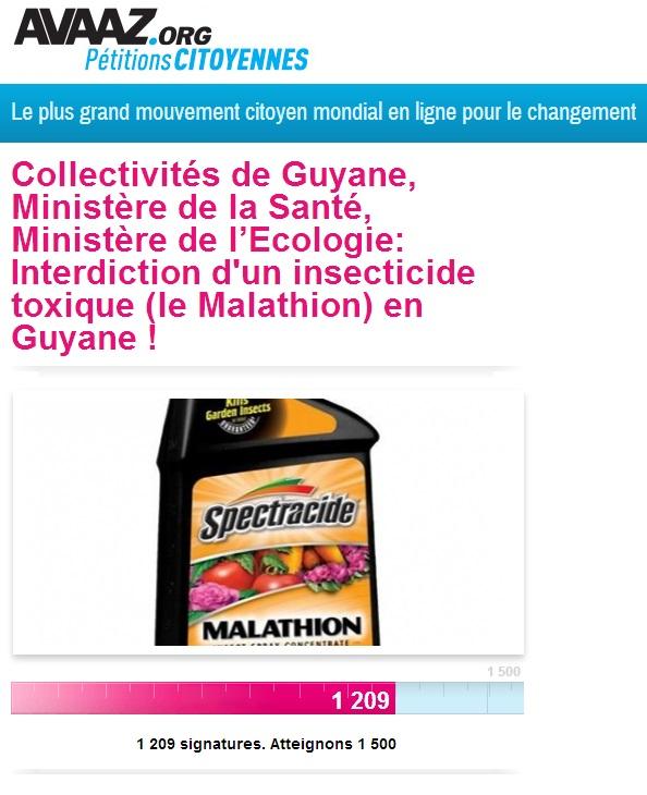 Le mouvement citoyen contre l'utilisation du Malathion en Guyane : lance une pétition
