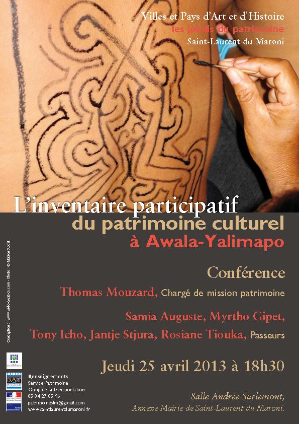 Conférence : L'inventaire participatif du patrimoine culturel à Awala-Yalimapo
