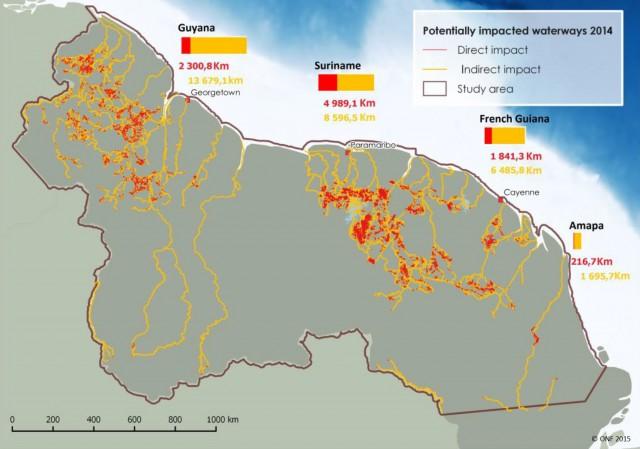 Suivi des impacts des activités aurifères sur le Plateau des Guyanes : forte augmentation globale depuis 2008