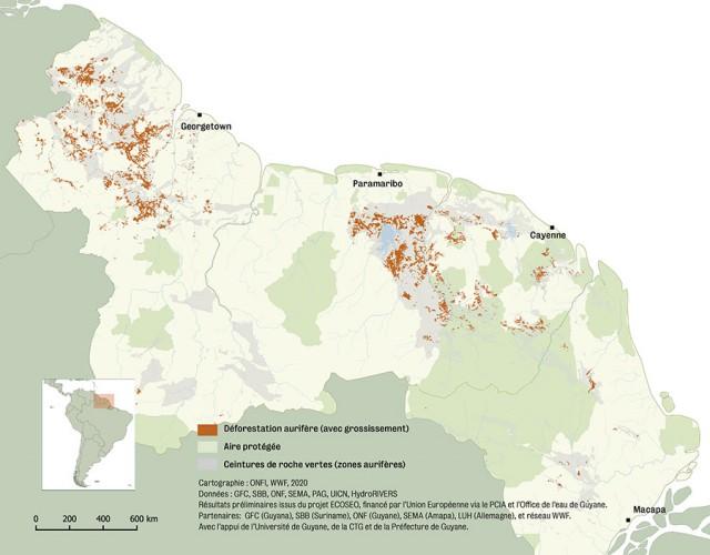 Déforestation due à l'exploitation aurifère  sur le Plateau des Guyanes (2018)