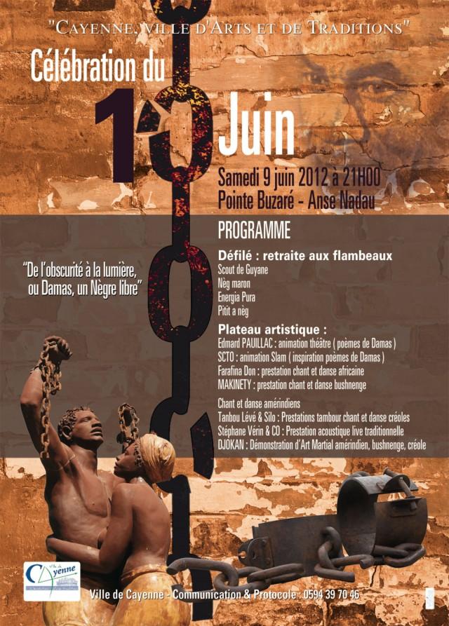 """Célébration du 10 Juin : """"De l'obscurité à la lumière ou Damas, un Nègre libre""""à Cayenne"""