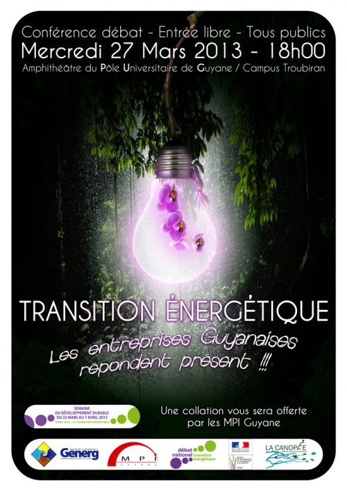Conférence GENERG/MPI le 27 mars :Transition énergétique en Guyane