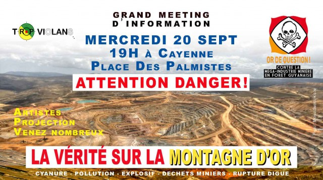 Grand Meeting d'information MONTAGNE D'OR : MERCREDI 20 SEPTEMBRE  19h00, sur la PLACE DES PALMISTES