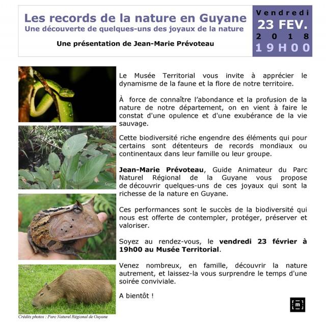 Les records de la nature en Guyane : conférence de Jean-Marie Prévoteau