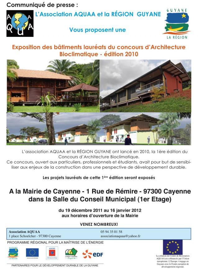 Exposition : Architecture bioclimatique à la mairie de Cayenne du 19 décembre au 16 janvier