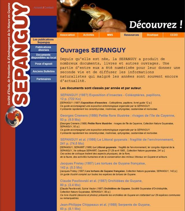 SEPANGUY : Mise en ligne de publications et de documents naturalistes sur la Guyane